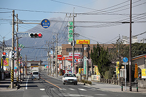 Town SE of Sakurajima volcano which is producing ash in background