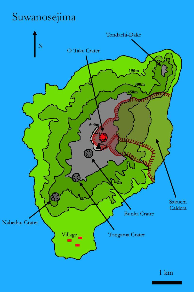 Suwanosejima Volcano - Japan volcano map